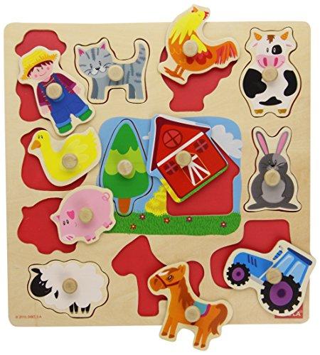 Divertido y colorido puzzles con 12 piezas de madera para niños y niñas.