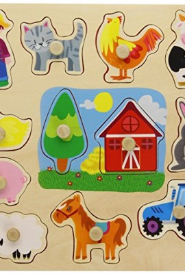 Goula-Puzzle-siluetas-granja-12-piezas-de-madera-Diset-53025-0