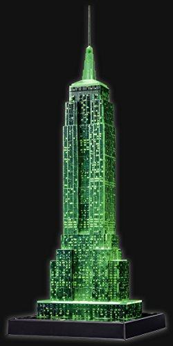 Puzzle 3D Empire State iluminado verde- Ravensburger