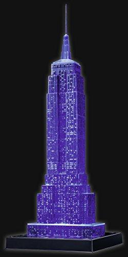 Puzzle 3D Empire State iluminado azul- Ravensburger