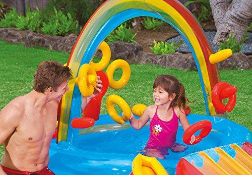 Centro de juegos con piscina hinchable tobog n y accesorios for Playmobil piscina con tobogan