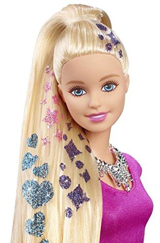 juguetes para peinar a Barbie con mechas de purpurina