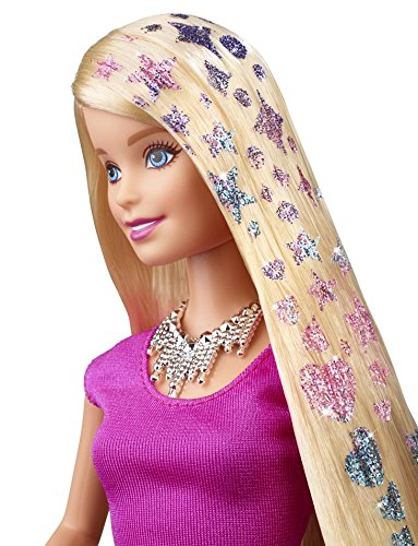Muñeca Barbie y mechas de purpurina