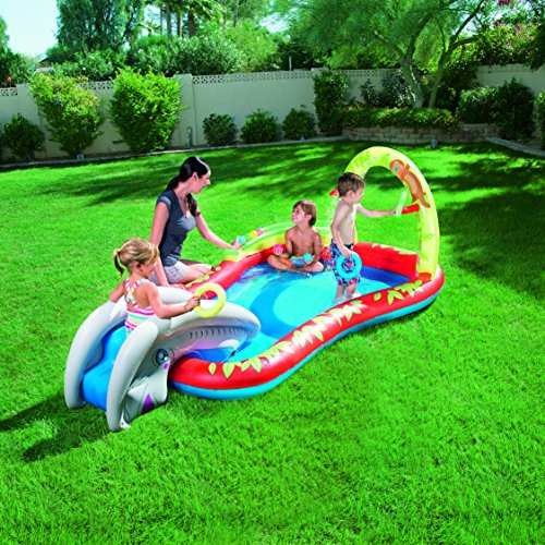 Piscina hinchable con tobog n juguetespeque for Tobogan piscina ninos