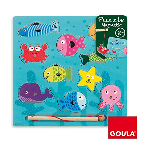 Puzzle pesca magnético con piezas de madera